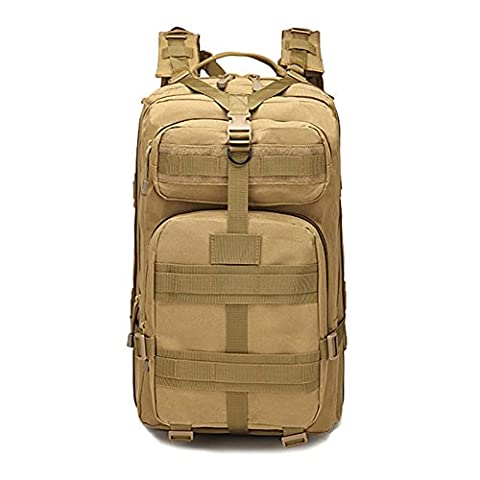Joyousac Backpack Outdoor Hiking Nylon Water Resistant 3P Tactical Duffle Bag Tan