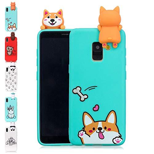 LA-Otter kompatibel fürSamsung Galaxy A6 Plus 2018 Hülle Silikon UltraDünnSlim GummiBumperFolieSchutzhülleHandyhülleTascheSchalemit3D Motiv Muster Blau Corgi Hund -