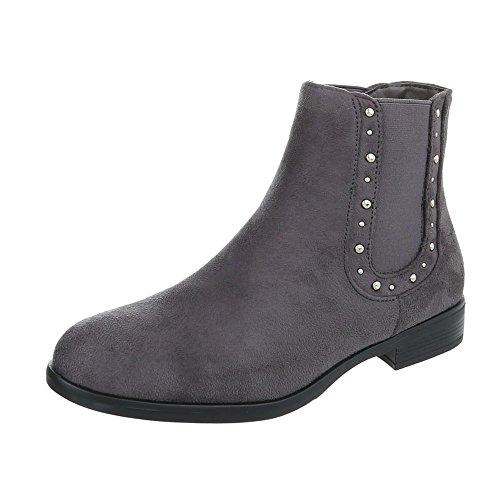 Chelsea Boots Damenschuhe Chelsea Boots Blockabsatz Blockabsatz Ital-Design Stiefeletten Grau