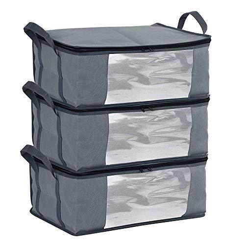 MANZOO Aufbewahrungstasche mit Reißverschluss für Schrank, Kleidung, Decke, Organizer, Faltbare Aufbewahrungstasche, Schwerer Stoff, platzsparend -