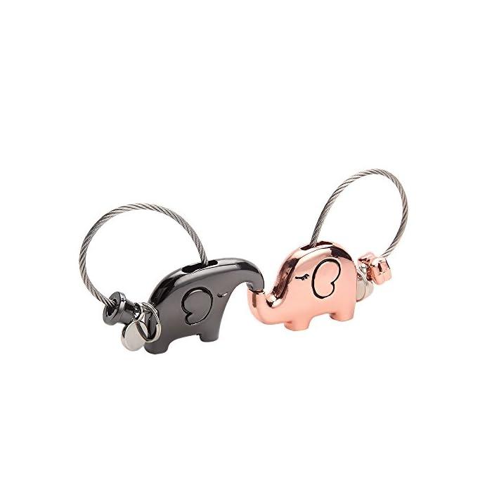 Joykey Schlüsselanhänger 1 Paar küssender Elefant Schlüsselring partneranhänger Valentinsgruß Geschenk Zink Legierungs…