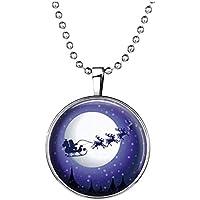 SODIAL(R) Collar de serie de Navidad Collar de trineo de nieve en la luna Collar de pendiente de joya de noche