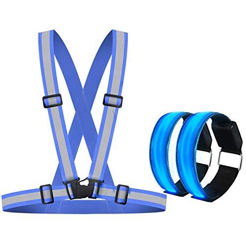 Alviller Reflektorweste mit 2 Stück LED Armband, Reflektierende Warnweste Sicherheitsweste mit High Reflector Einstellbare für Erwachsene und Kinder, Laufen, Motorrad und Nachts Outdoor Sports