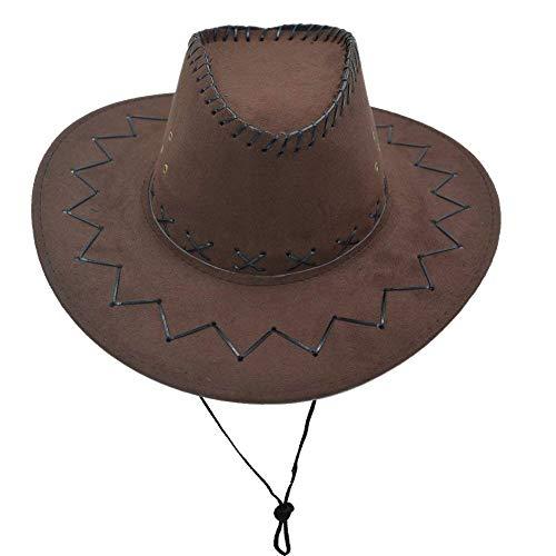 Laisla fashion Western Unisex Erwachsene Cowboy Wildleder Leder Hut Breiter Krempe Sonne ()