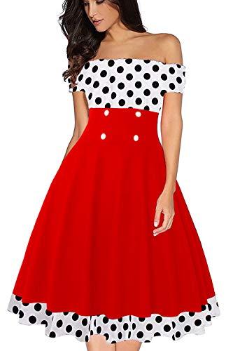 Axoe Damen Gepunktetes Kleid 50er Jahre Rockabilly Weiß mit Rot Gr.44 50er 60er Jahre Kleid