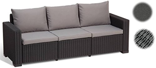 Allibert Lounge Sofa, Balkon, Lounge California Sofa, graphit/panama cool grau, 199 x 68 x 72 cm, 233053