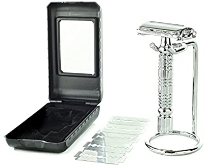 Elkaline Double Edge One Blade Safety Razor Shaving Kit - 5 Blades, Razor Stand & Travel Case Set - Great Gift for Men and Women - Lifetime Warranty