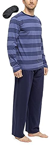 Tom Franks Ensemble de Pyjama en Coton Rayé Détendu Homme Avec Masque des Yeux (Bleu Gris) XXL