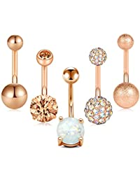 Crdifu 5pcs Belly Button Piercing Barbell Set 14 Gauge 316L Surgical Steel Piercing Jewellery Silver Rose Gold