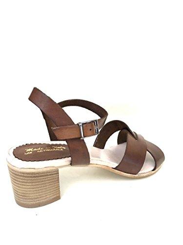 Sandali tacco 5 cm nn22 in pelle blu cuoio taupe cinturino MainApps Cuoio