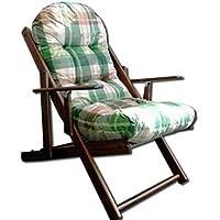 Sillón relax plegable de madera con cojín superacolchado, color verde lirio