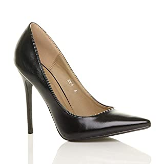 Ajvani Womens ladies high heel pointed court smart party work shoes pumps size 4 37