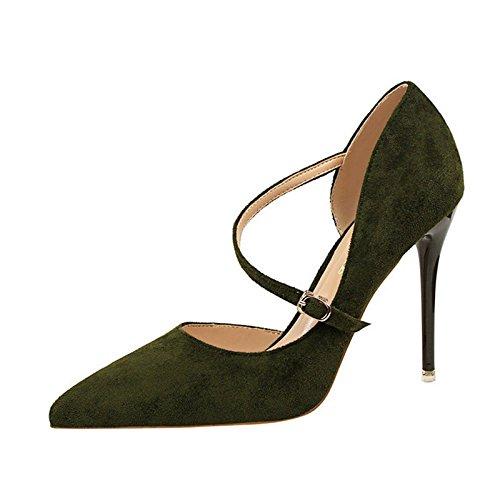 XINJING-S Bowknot Tacchi Alti scarpe matrimonio partito donne tacchi pompe OL vestono scarpe Sandali Verde