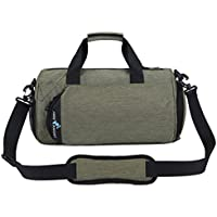 Canvas Sport Duffel Bag Gym Tote Bag with Shoe Compartment Small Fitness Yoga Equipment Bag Waterproof for Men & Women