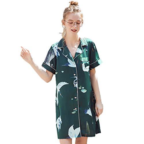 Neue Sommer-Damen-Pyjamas FGHYH Frauen schließen Art gedruckte Silk Hauptnachthemd Sleepshirts kurz(L, Grün) (Florale Langarm-sleepshirt)