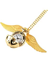 MOLUO Creatividad Reloj de Bolsillo Colgante de la Bola Dorada Snitch Regalos for niños de Cuarzo Reloj Collar Precioso Reloj De Bolsillo