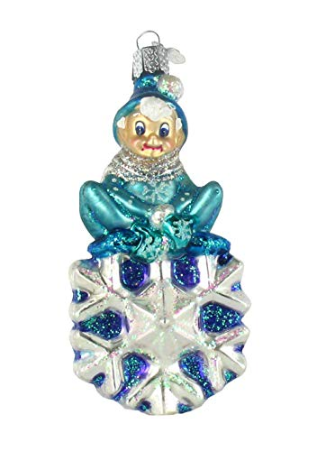 Old World Christmas Jack Frost on Snowflake Glass Ornament 24152 New Free Box -