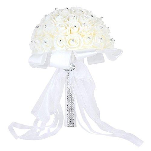 Hochzeit Bouquet künstliche Rose Sträuße schöne Braut Brautjungfer Blume Kristall Strass künstliche Seide Blumen weiß