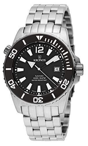 KRONOS - K300 Automatic Ceramic Black&White 736N.8.55W - Reloj Diver de Caballero automático, Brazalete...