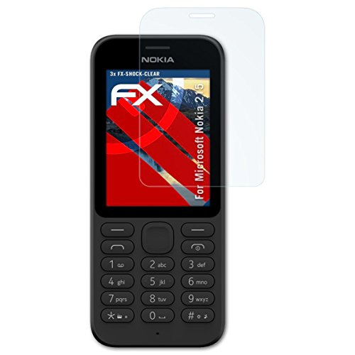 atFolix Schutzfolie kompatibel mit Microsoft Nokia 215 Panzerfolie, ultraklare & stoßdämpfende FX Folie (3X)