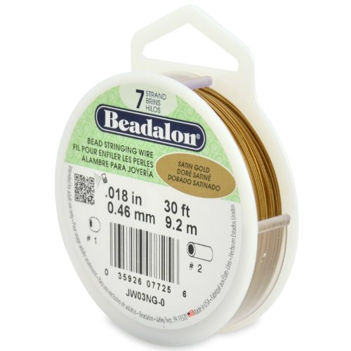 Beadalon 7-Strand Stainless Steel 0.018-Inch Bead Stringing Wire, 30-Feet, Satin Gold by Beadalon