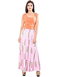 Naksh Jaipur Pink Cotton Flared Floral Palazzos For Women
