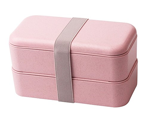 Elfin-Lore Bento Box Lunchbox aus Biologisch Abbaubarem Material (Weizenstroh Faser) BPA-frei |Mikrowelle Erhitzbar| Gefrierschrank, Geschirrspüler-Anwendbar 800ML - - Erwachsenen-lunch-box Rosa