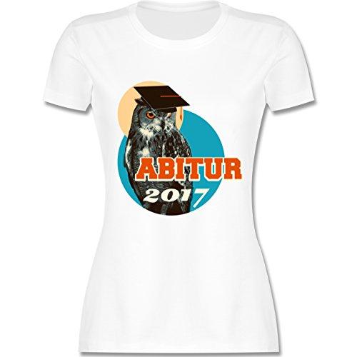 Abi & Abschluss - ABITUR 2017 Vintage Eule - tailliertes Premium T-Shirt mit Rundhalsausschnitt für Damen Weiß