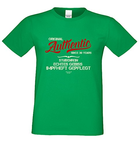 tolles Herren Männer Fun T-Shirt Motiv Authentic Since 30 Years cooles Geschenk Mann Geburtstag Jahrgang Altersgruppen Shirt Farbe: hellgrün Hellgrün