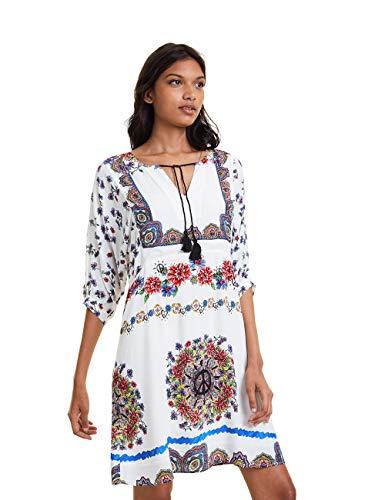 Desigual Damen Dress Linette Kleid, Weiß (Blanco 1000), (Herstellergröße: 40)