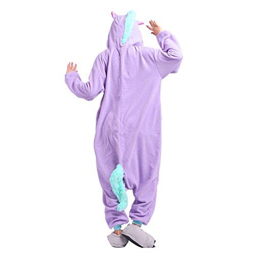 PALMFOX Kigurumi Unisex Adulto Cosplay Halloween Costume Animale Pigiama unicorno Nuova unicorno viola