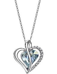 Neoglory Hecho con Swarovski Elements Elegante Collar Colgante Corazon Amor Love Heart Genuino Cristal Austriaco Azul Joya Original Regalos para Mujer