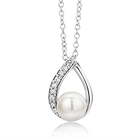 Miore 9ct White Gold Diamond and Freshwater Pearl Teardrop Pendant on 45cm Chain USP031PW