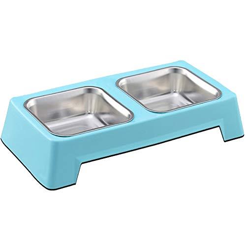XIAOXUE Dog Bowl Cat Bowl Pet Food Bowl Health and Durable Wear-resistente Square Edelstahl Single Bowl Double Bowl,Blue,L -