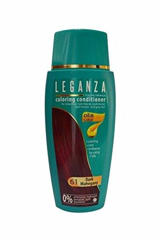 Leganza, teinture baume pour les cheveux sans ammoniaque, couleur acajou foncé N61, 7 huiles naturelles.