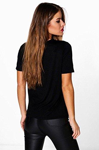 Noir Femme Petite Imogen T-shirt Fantaisie De Noël À Slogan Noir
