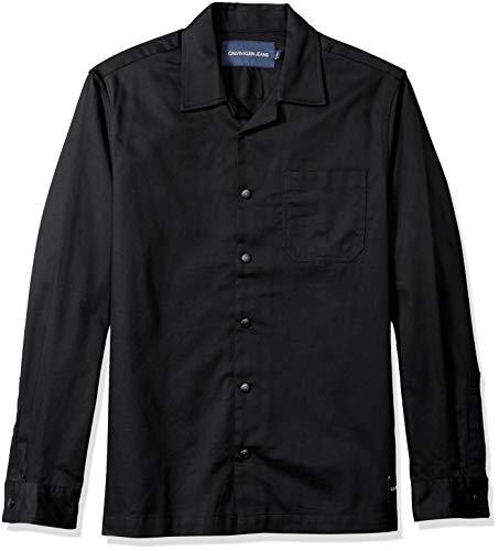 Chambray-utility Shirt (Calvin Klein Herren Utility Shirt Jeans - schwarz - Mittel)