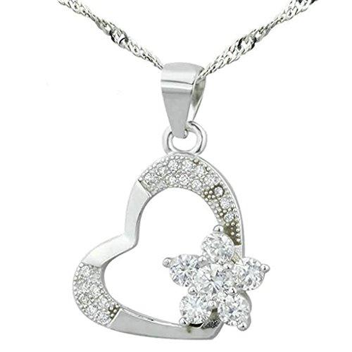 Gnzoe Schmuck Damen Halskette 925 Silber Herz Blumen Form Anhänger Elegant Silberkette Damenkette Weiß Größe 1.9x1.7 CM mit (Kostüme Hawaii 5 0)