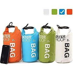 Uncle Paul Bolsas estancas - Azul 2 litros a la Deriva Impermeable Bolsa Seca para Paseo en Barco, Kayak, Pesca, Canotaje, natación, Camping, piragüismo