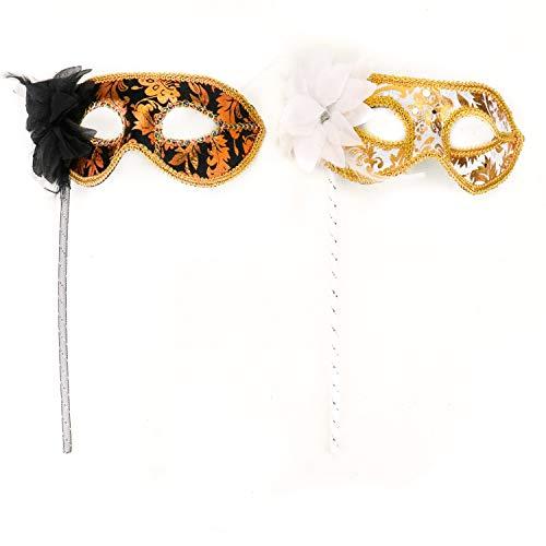 JETEHO Damen Maskenbalken, venezianische Maske auf Einem Stab, Schwarz und Weiß, 2 Stück (Stick Auf Masken)