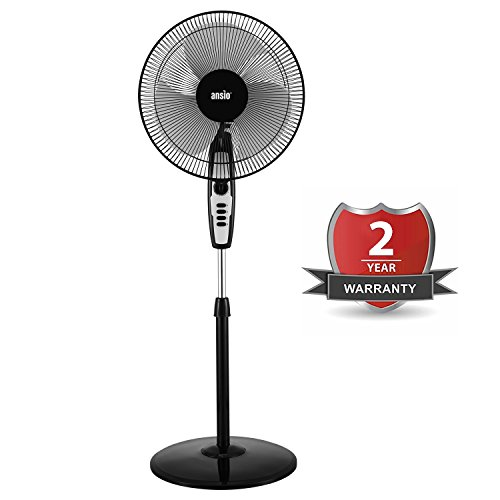 ANSIO High Speed Pedestal Fan with 2 Hour Timer 400 mm/16 Inch | 100% Copper Motor with High Speed Performance - 120 Watts 2300 RPM (Black) *** Promotional Price ***