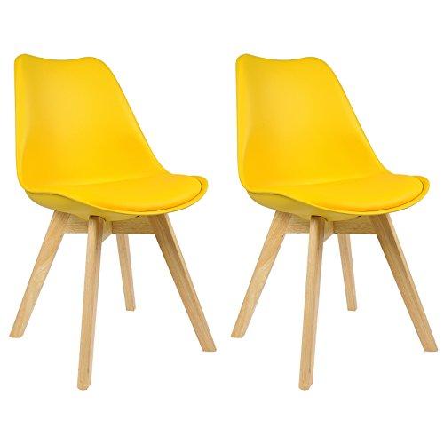 WOLTU BH29gb-2 2 x Esszimmerstühle 2er Set Esszimmerstuhl Design Stuhl Küchenstuhl Holz, Gelb