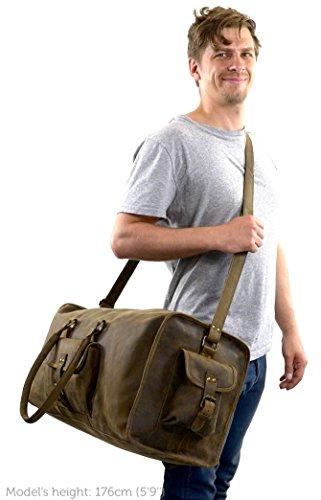 Gusti Leder studio ''Marcin'' borsa da viaggio bagaglio borsone per sport palestra fine settimana vera pelle marrone 2R22-26-54