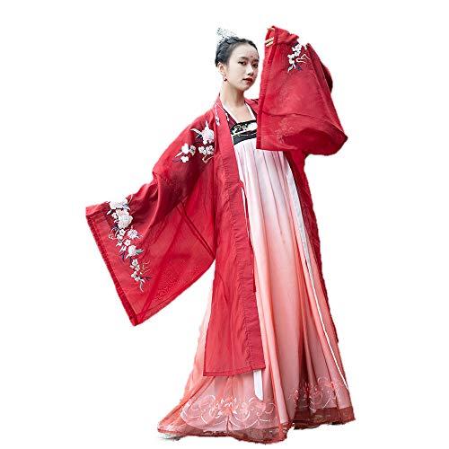 Kleid Chinesen Kostüm - YCWY Women's Ancient Chinese Kostüm, Vintage wunderschöne chinesische Kleid Bestickt Tang Anzug chinesischen Gerichtstanz Kostüme Exquisite Blumendruck,S