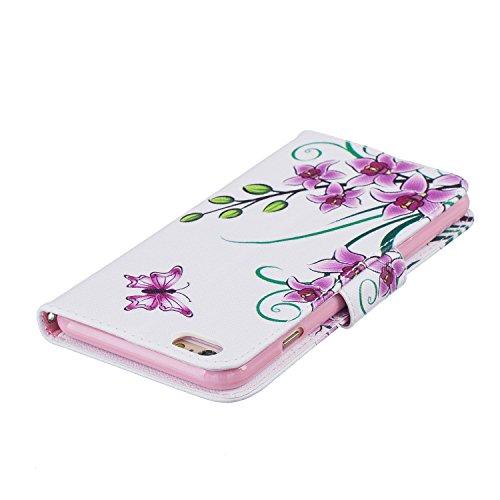 Ooboom® iPhone 5SE Hülle Flip PU Leder Schutzhülle Handy Tasche Case Cover Wallet Brieftasche Standfunktion für iPhone 5SE - Bär Schmetterling Rosa