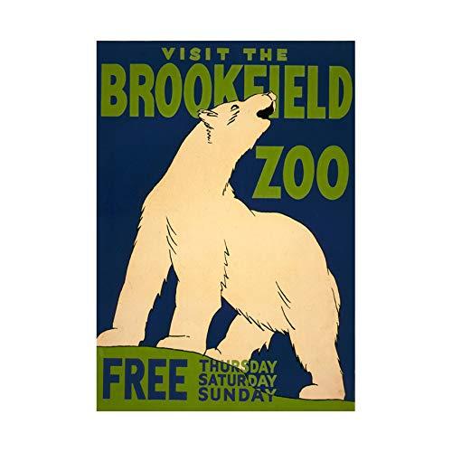 Vintage AD Brookfield Zoo Polar Bear USA Framed Print F12X3113