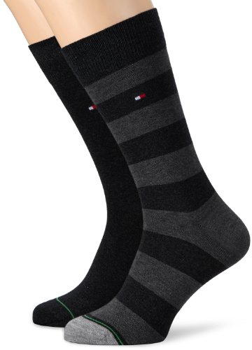 Tommy Hilfiger Th Men Rugby Sock 2P - Calzini, uomo, Nero (Schwarz (Black)), 43/46