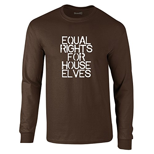 Equal Rights For House Elves, Erwachsene Langarm-T-Shirt, Dunkelbraun/Weiß, M-96-101cm