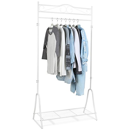 HOMFA Percheros de Pie Perchero de hierro Colgar Ropa Zapatos 90*44*176cm Blanco