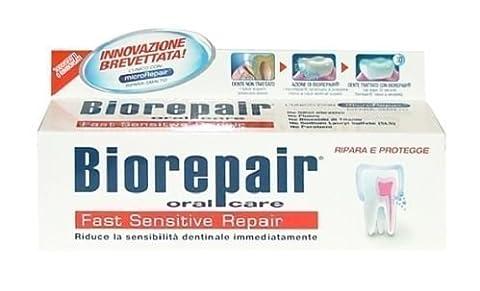 Biorepair 1 Stück Ohne Fluorid Schnell Empfindliche Zähne 75ml Repariert Beschädigten Zahnschmelz Und Schützt Vor (Smalto Sensibile)